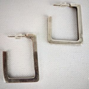 Unique Handcrafted Silver SQUARE Earrings Exc.